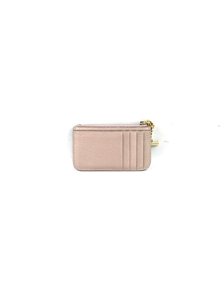 Nude Grained Leather Drew Card Holder Coin Case W/GHW Chain Tassel