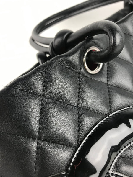 Large Black Quilted Cambon Ligne Shopping Tote Bag W/RHW