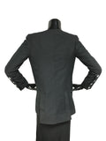 2014 Runway Black Linen Asymmetric Button Long Jacket Blazer W/ CC White Porcelain Buttons,