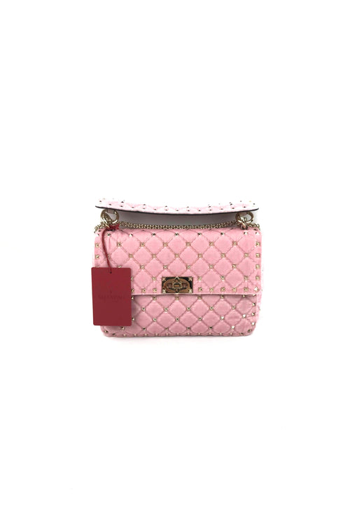 Pink Velvet Medium Rockstud Medium Spike Bag W/ GHW
