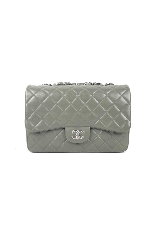 cd69a653576e01 Grey Caviar Jumbo Single Flap Bag W/ SHW