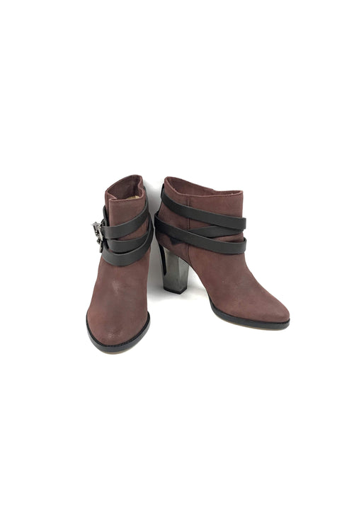 Burgundy Suede Melba Ankle Boots w/ Black Buckle Accent