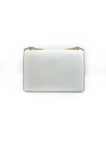 Rosalia White Grained Leather Shoulder Bag W/GHW