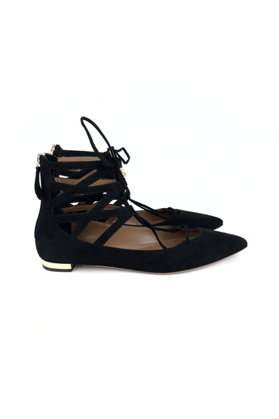 Christy Black Suede Lace-up Flats