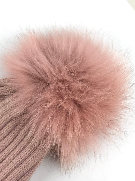 Light Pink Virgin Wool Fox Fur Pom Pom Beanie