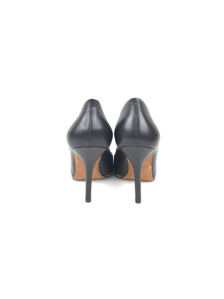 Black Smooth Pointed Leather Pumps W/ Gold Trim