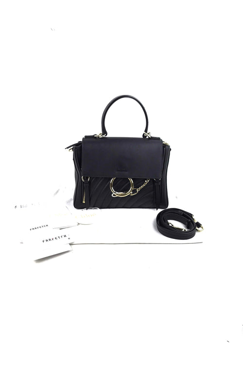 Dark Navy Leather Quilted Faye Day Bag