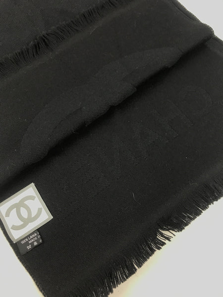 Black CC Logo Wool Scarf