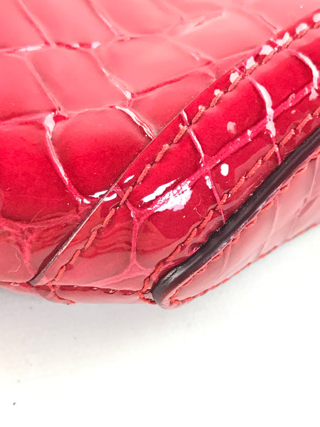 Red Patent Croc Embossed Leather De Manta Clutch W/SHW-ON LAYAWAY