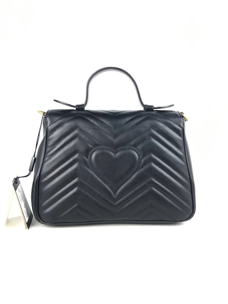 Small Black GG Marmont Top Handle Bag W/AGHW