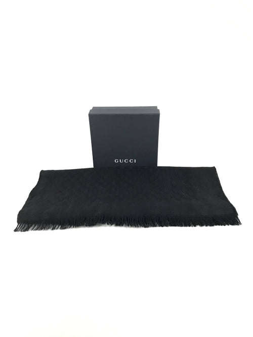 Black GG Guccissima Wool/Silk Scarf
