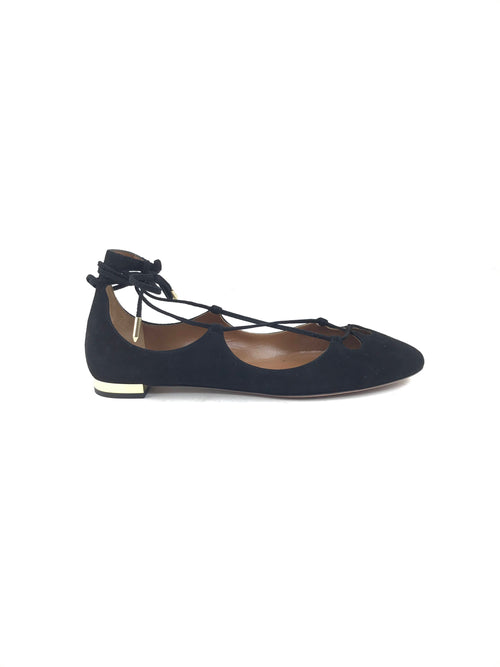 Black Suede Dancer Flat w/GHW, size: 37