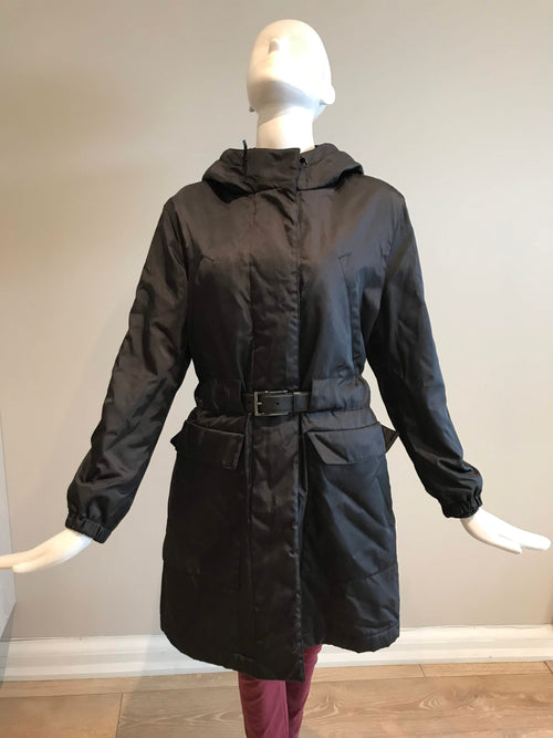 Black Nylon Padded Coat W/ Saffiano Leather Belt - Haute Classics