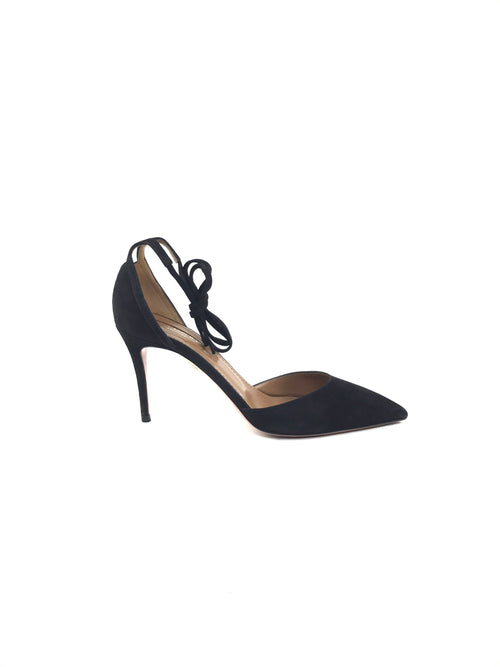 Black Suede Heart Breaker Pump 85