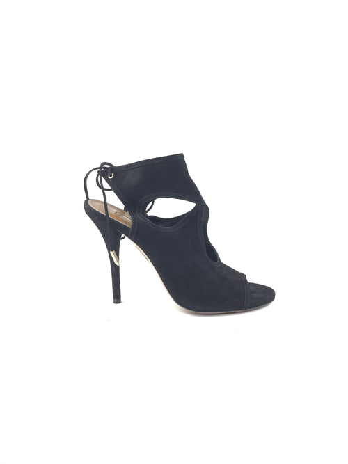 Black Suede Sexy Thing 105 Open Toe Pump