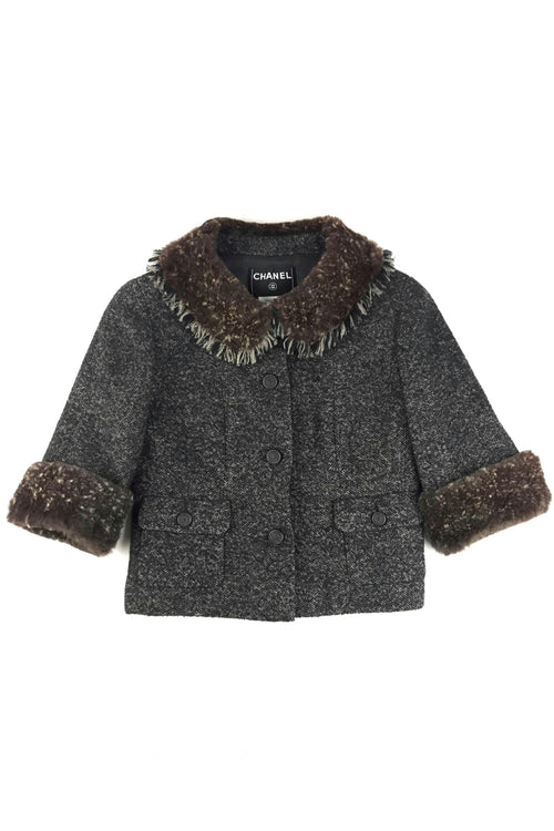 Black/Beige Tweed Brown Rabbit Fur Half-Sleeve Jacket