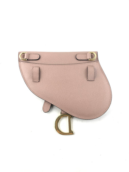 Nude Grained Leather Saddle Belted Bag W/AGHW