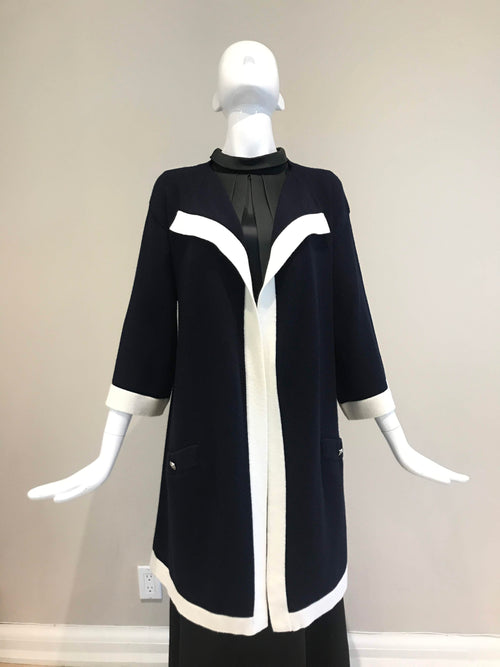 Navy/White Cashmere Long Cardigan