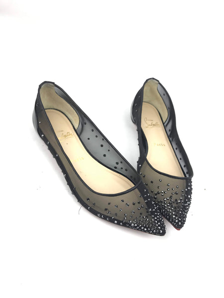 outlet store d41f2 ea2cd Black Follies Strass Mesh & Patent Leather Flats