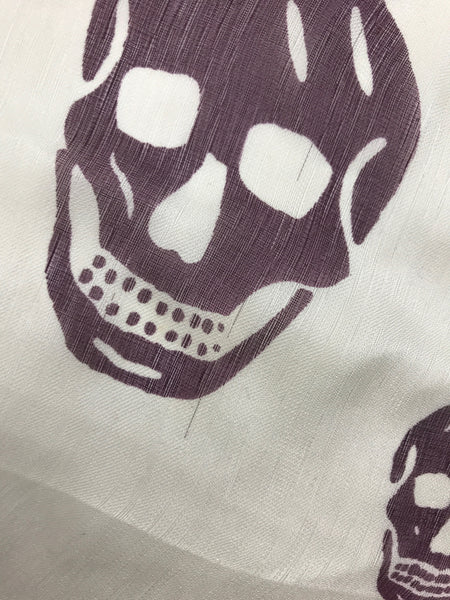 White/Purple Silk Skull Scarf