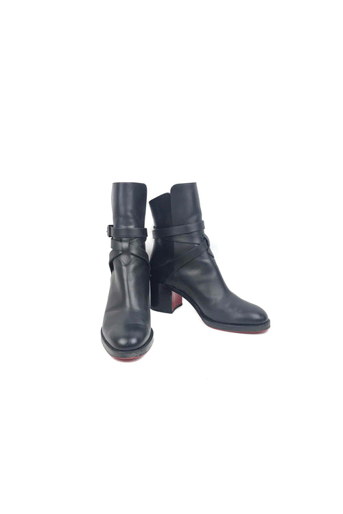Black Smooth Leather Karistrap Boots