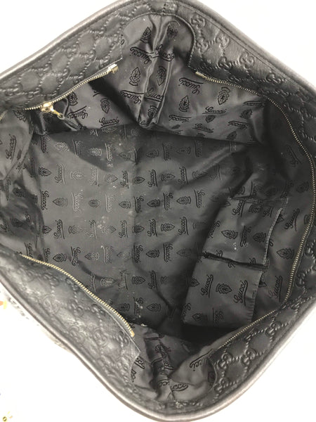 Black Guccissima Embossed Leather Large Tote - Haute Classics