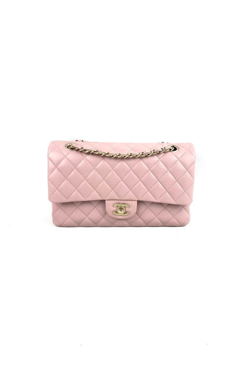 Soft Pink Lambskin Medium Double Flap W/ MGHW