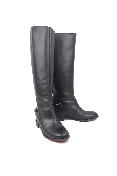 Black Leather Knee High Boots W/ Dark Silver Chain Accent - Haute Classics