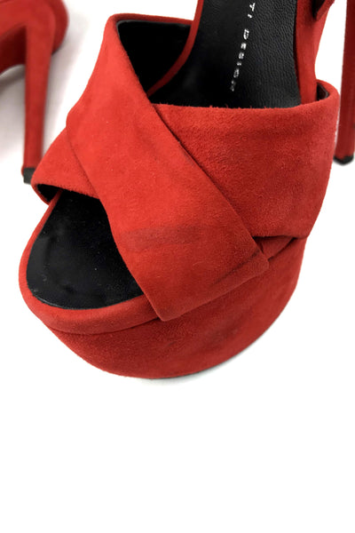 Red/Orange Suede Platform Sandals
