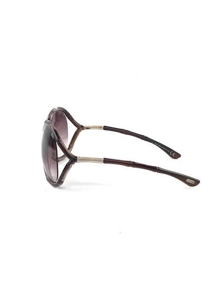Purple Rounded Square Bamboo Frame Sunglasses W/GHW