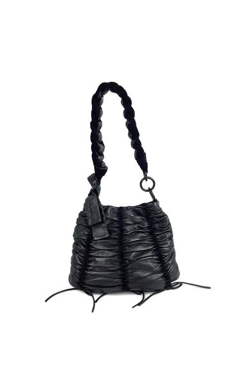 Black Calfskin Leather Nappa Coulisse Bag - Haute Classics