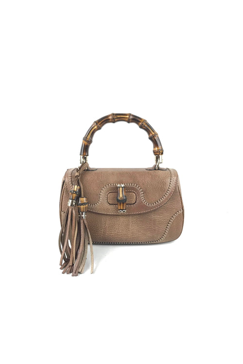 Brown Pebbled Leather Bamboo Top Handle Medium Bag