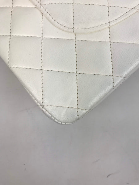 White Lambskin Quilted Medium Double Flap Bag W/ SHW