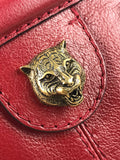 Red GG Grained Leather Tiger Head Rebelle Small Shoulder Bag W/AGHW