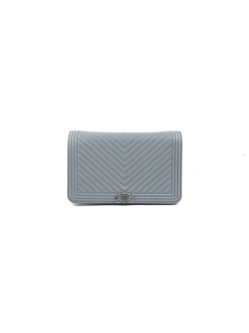 Light Grey Caviar Chevron Boy WOC W/RHW