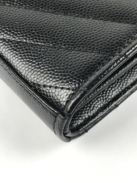 Black Grain De Poudre Embossed Leather Wallet on Chain W/BHW