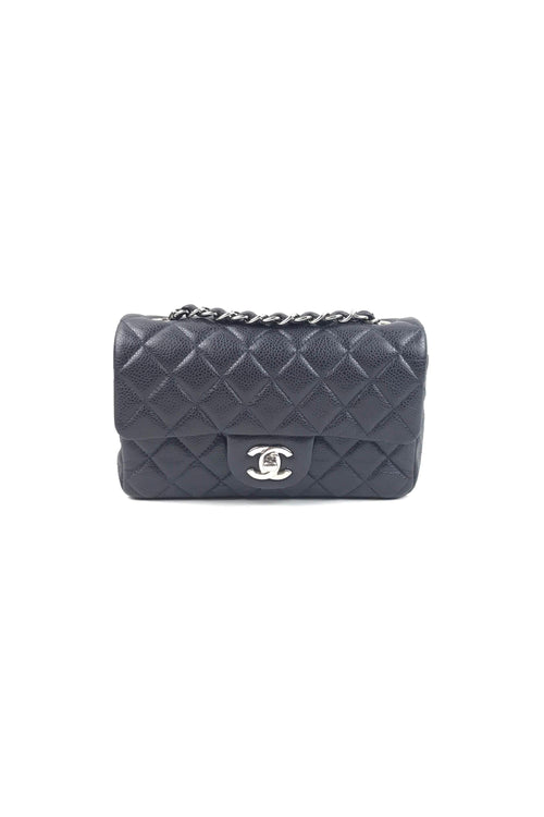 c885edee1e9e Navy Caviar Quilted Mini Rectangle Flap Bag W  SHW