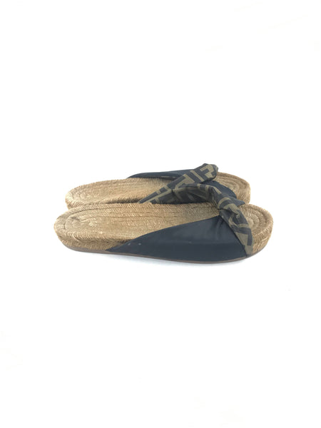 Twisted Logo Satin Espadrille Slide Sandals