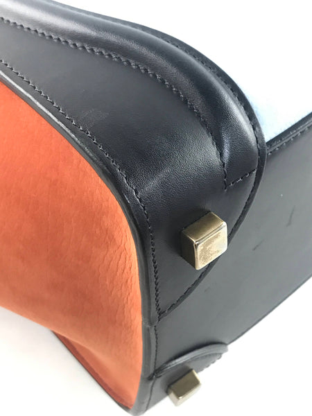 Tri Colour Burnt Orange/Black/Light Blue Grained/Smooth Calfskin Luggage Micro Tote Bag W/AGHW