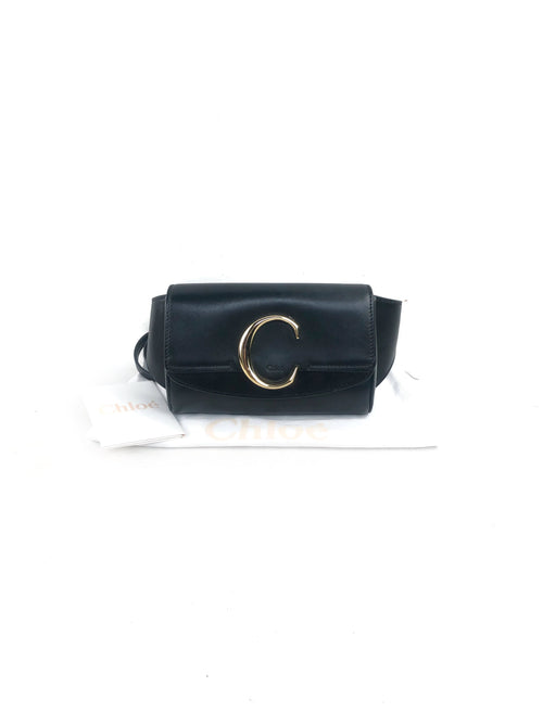 Black C Suede Trimmed Leather Belt Bag W/GHW