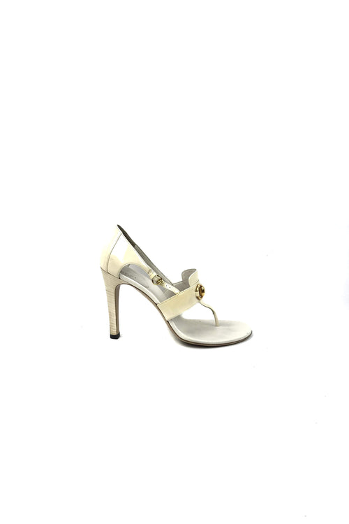 White Leather Open Toe & Horsebit Accent W/ GHW
