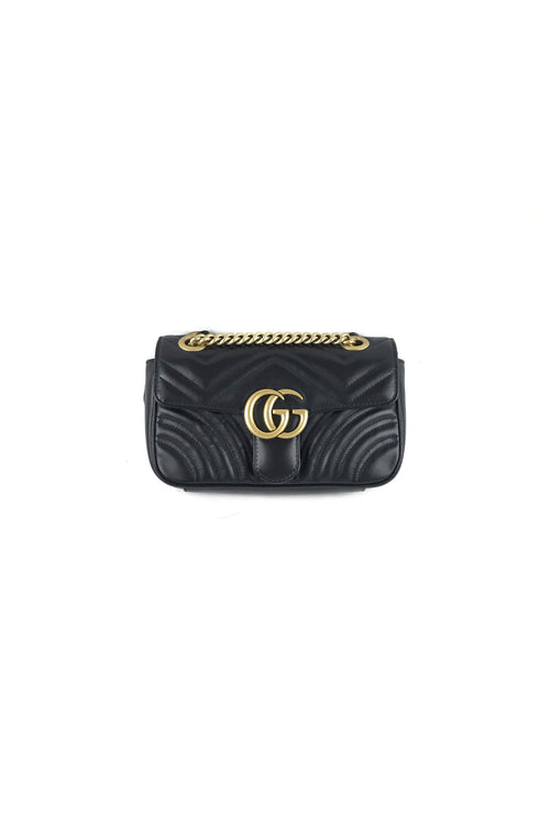 Black Leather Marmont Matelasse Mini Shoulder Bag