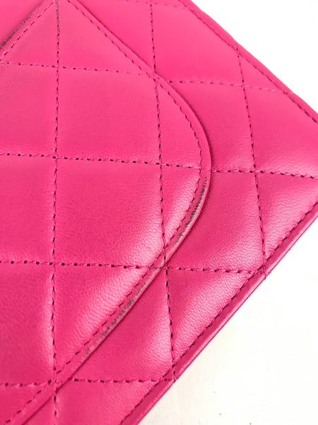 Watermelon Pink Quilted Lambskin Wallet On Chain W/SHW