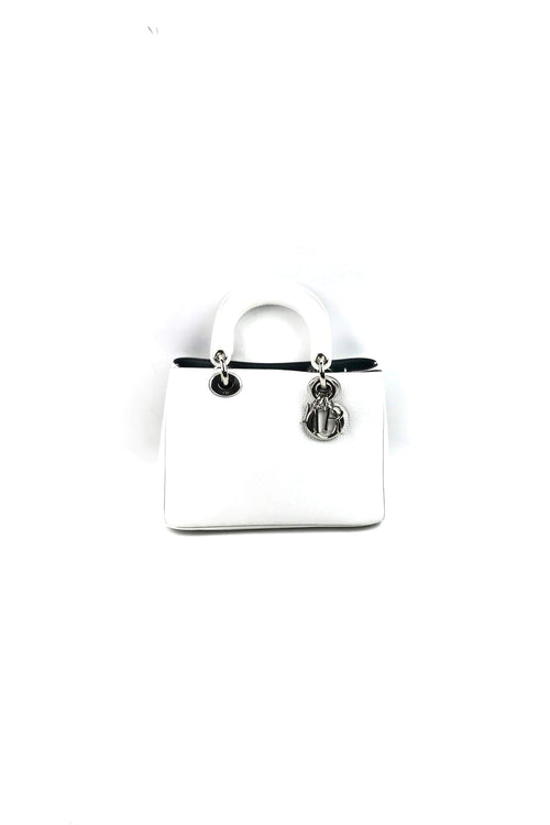 White Grained Leather Soft Mini Lady Dior W/ SHW