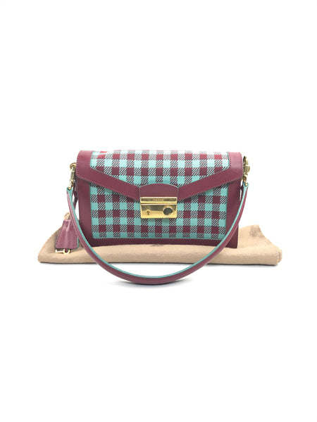 Burgundy/Turquoise Tweed Sound Shoulder Bag W/AGHW