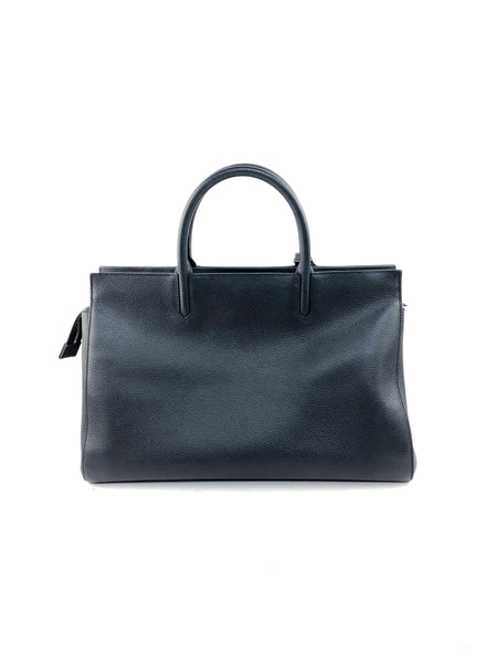 Black Grained Leather Medium Cabas Rive Gauche Bag W/SHW