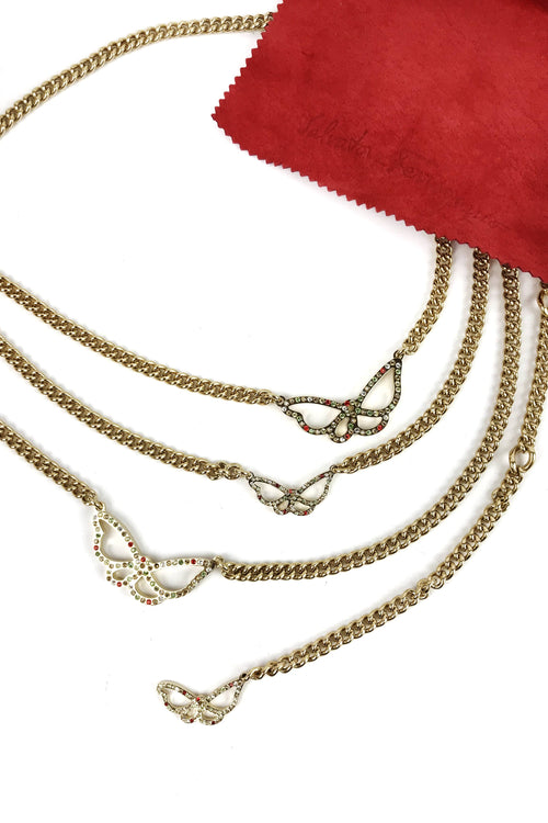 Butterfly Gold Plated Chain Belt w/ Crystal Accents