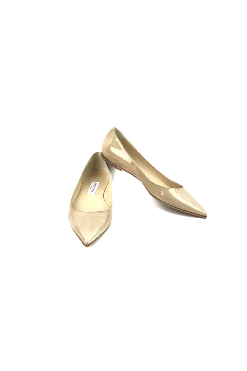 Nude Patent Leather Pointed Toe Ballet Flats