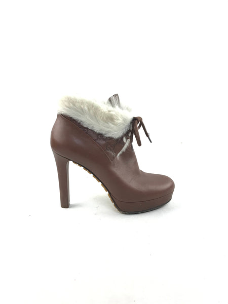 GG Brown Leather Shearling Platform Heeled Ankle Boots