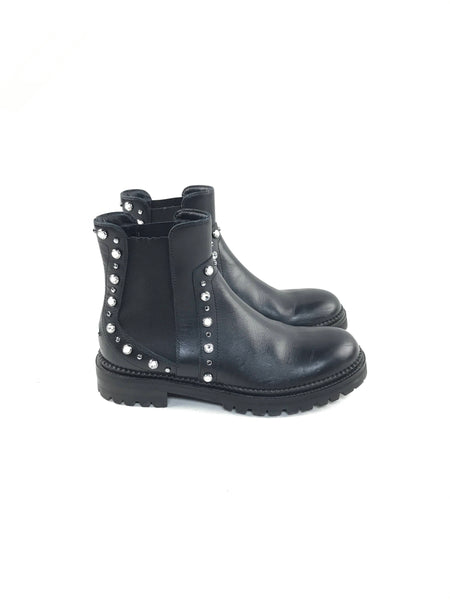 Black Leather Burrow Ankle Boots